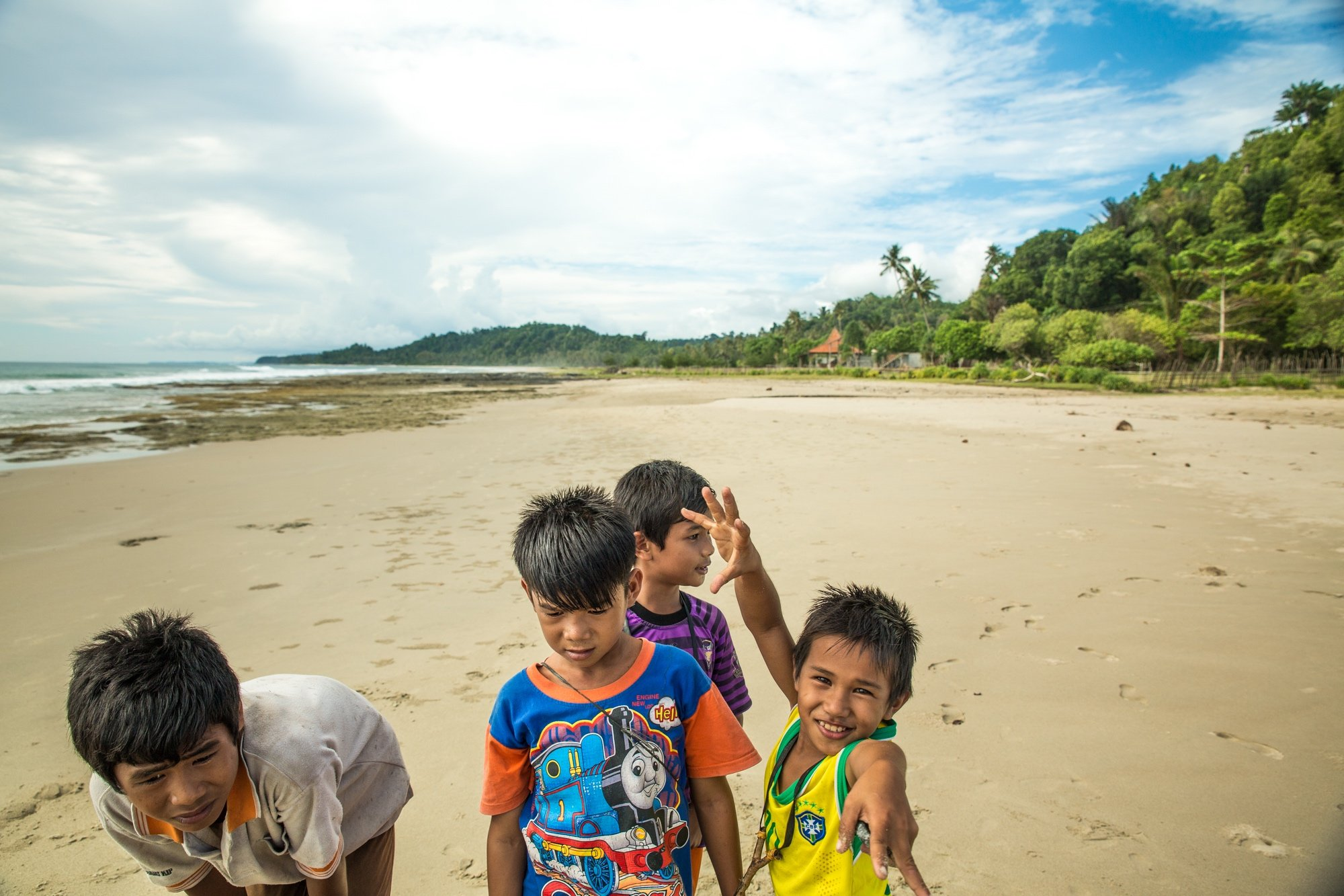 Simeulue Island Kids playing on the beach